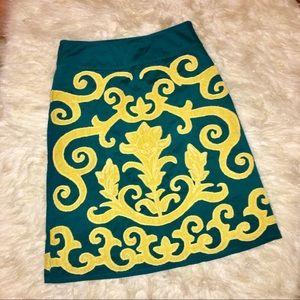 Boden Teal Velvet Gold Embroidered Pencil Skirt